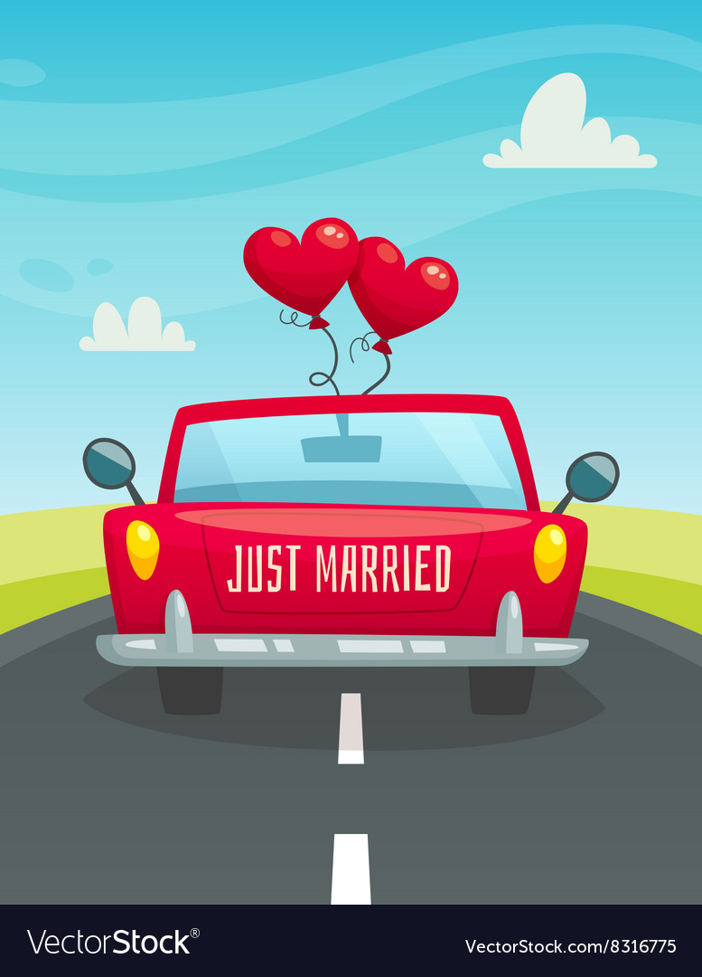 Just maarried car with balloons back view wedding vector