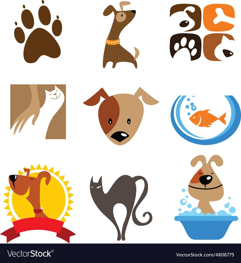 Pet shop logo and icons vector