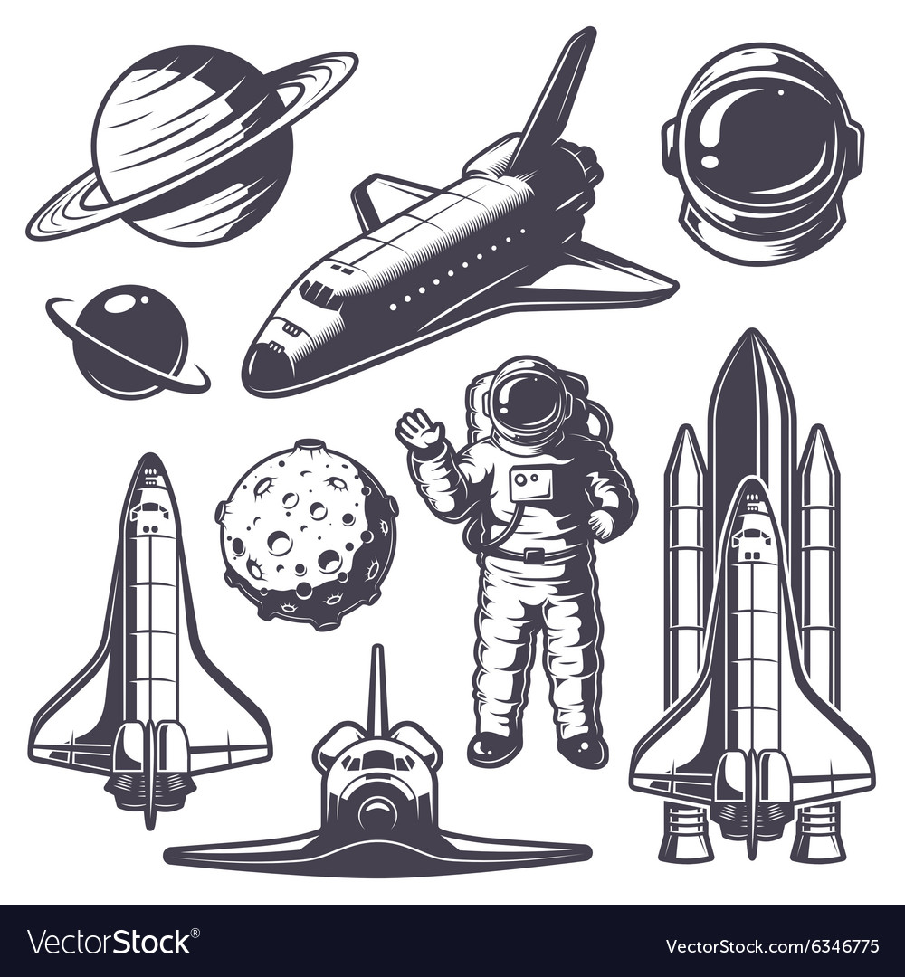 Set of vintage space elements vector