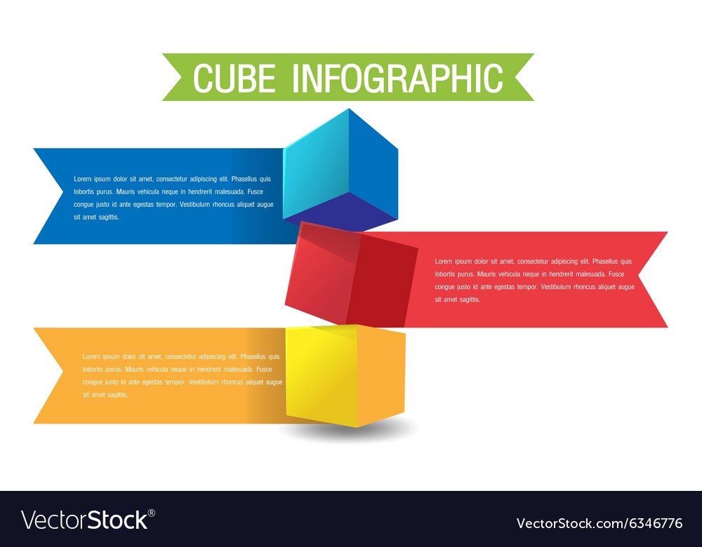 Cube color info graphic template vector
