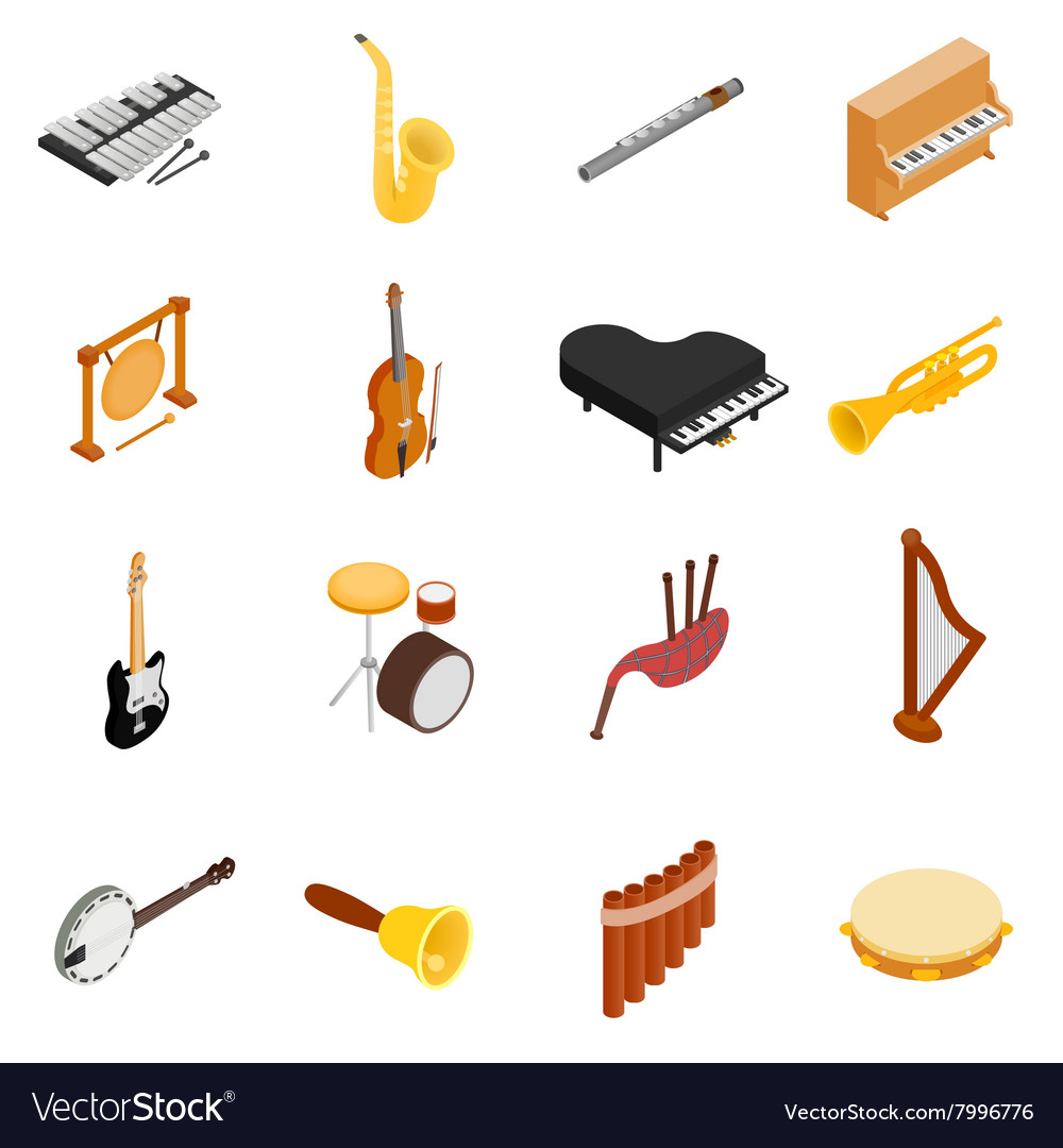 Musical instruments set icons isometric 3d style vector
