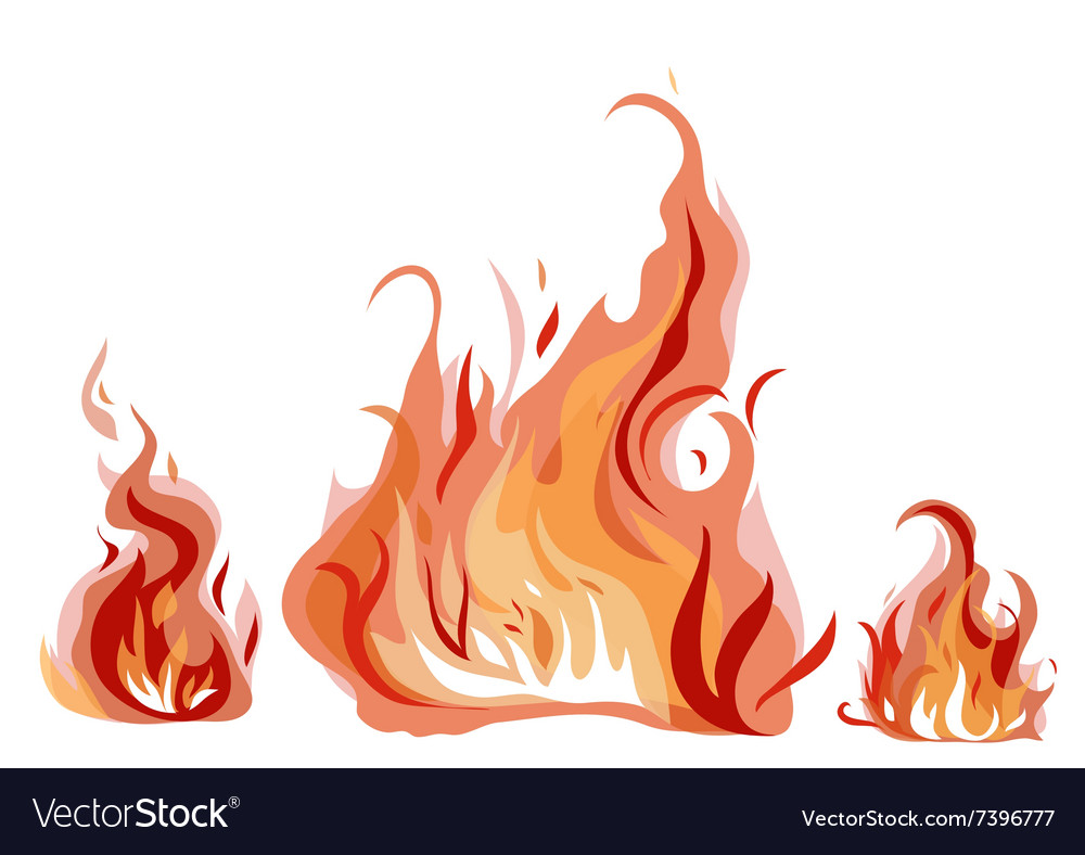 Bright fire flame with sparks vector