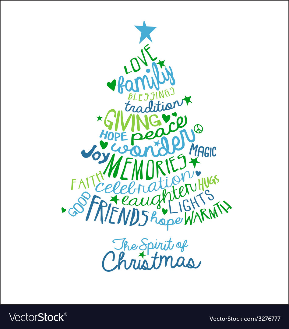 Handwritten christmas card word cloud tree design vector