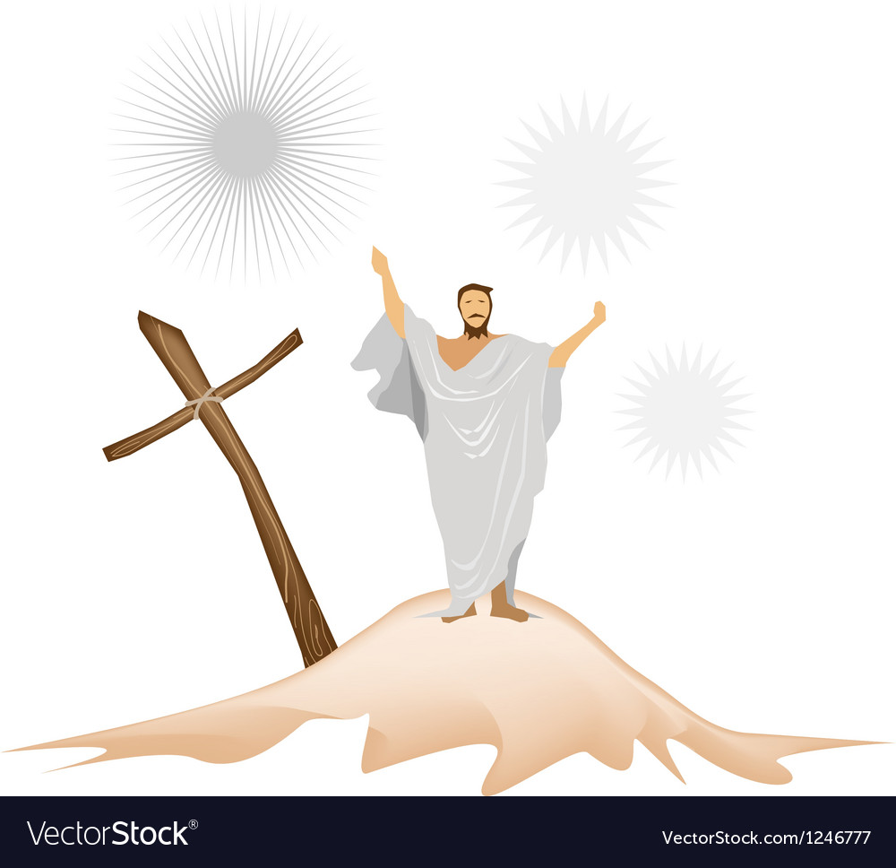 Jesus christ with wooden cross on a mountain vector