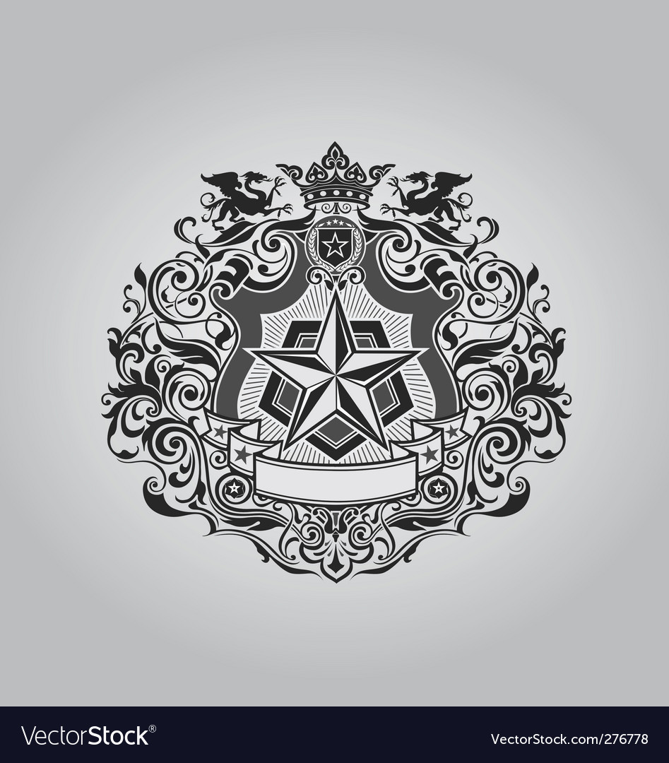Ornate shield design vector