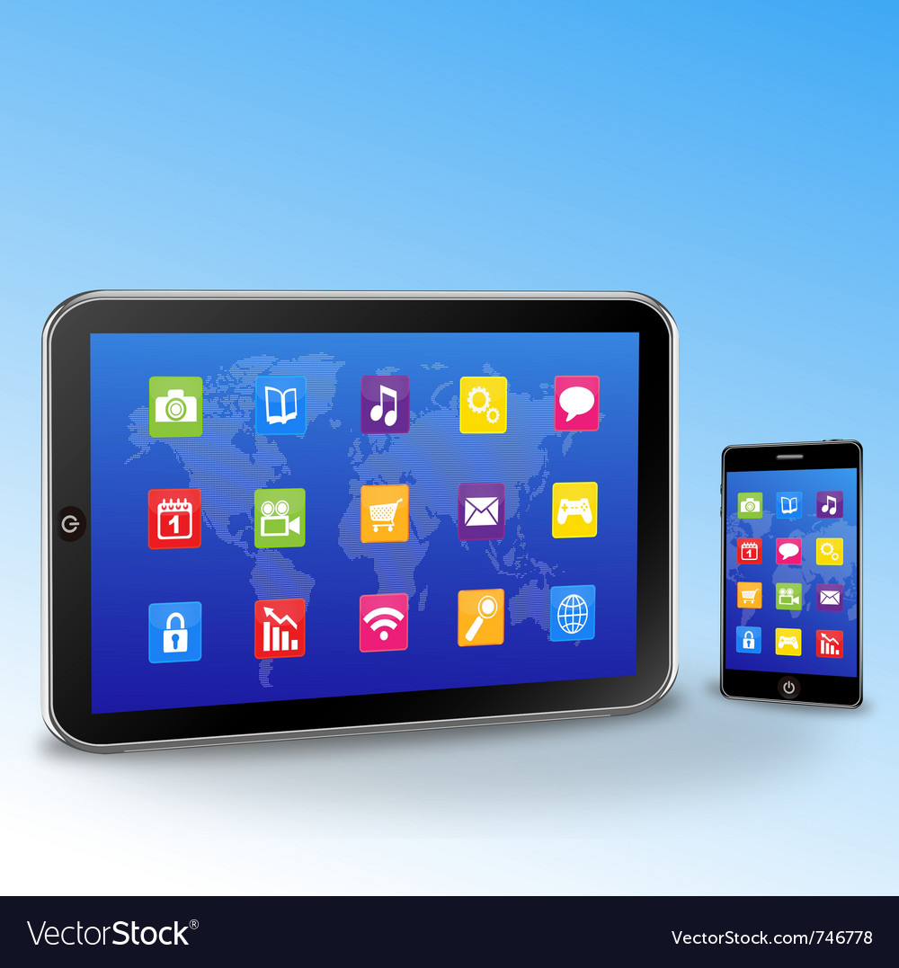 Tablet pc and touchscreen smartphone vector