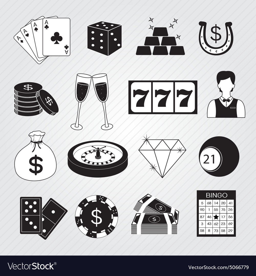 Casino icons set vector