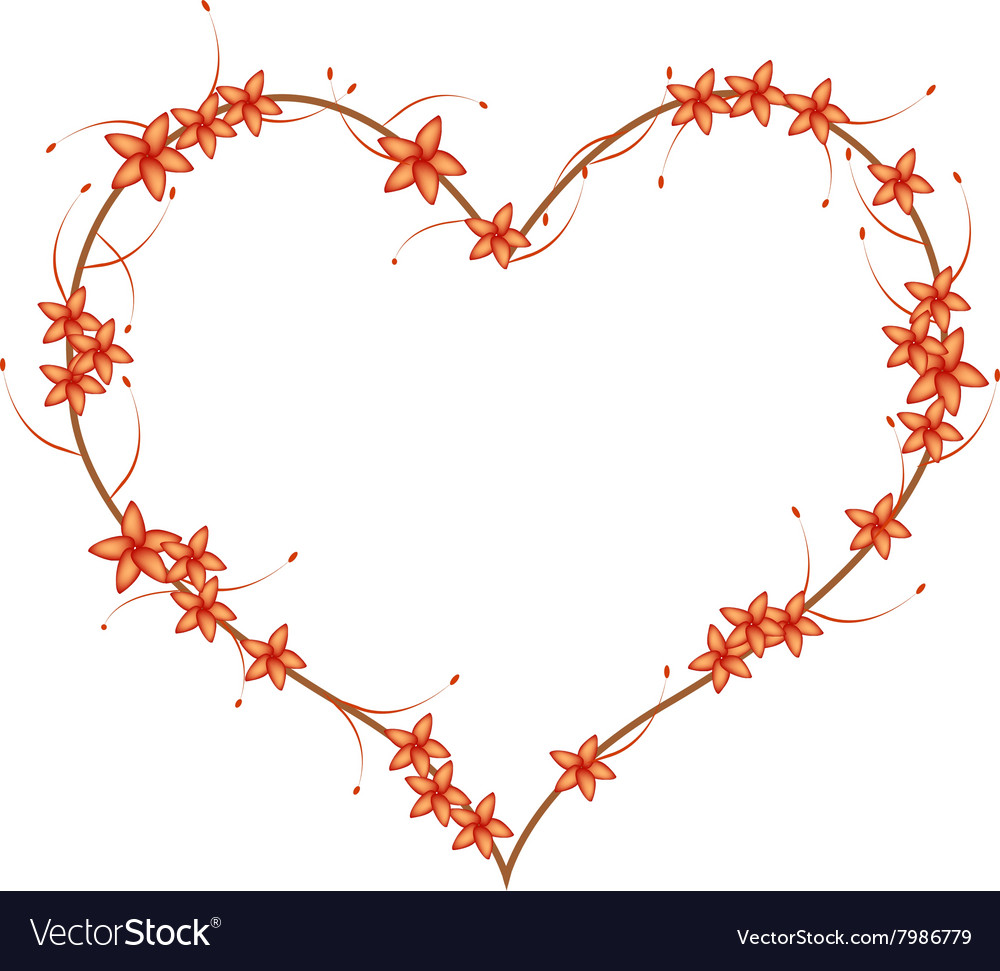 Red bush willow flowers in a heart shape vector