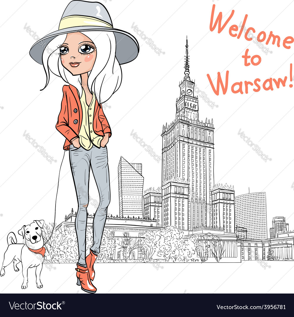 Beautiful fashion girl in warsaw vector