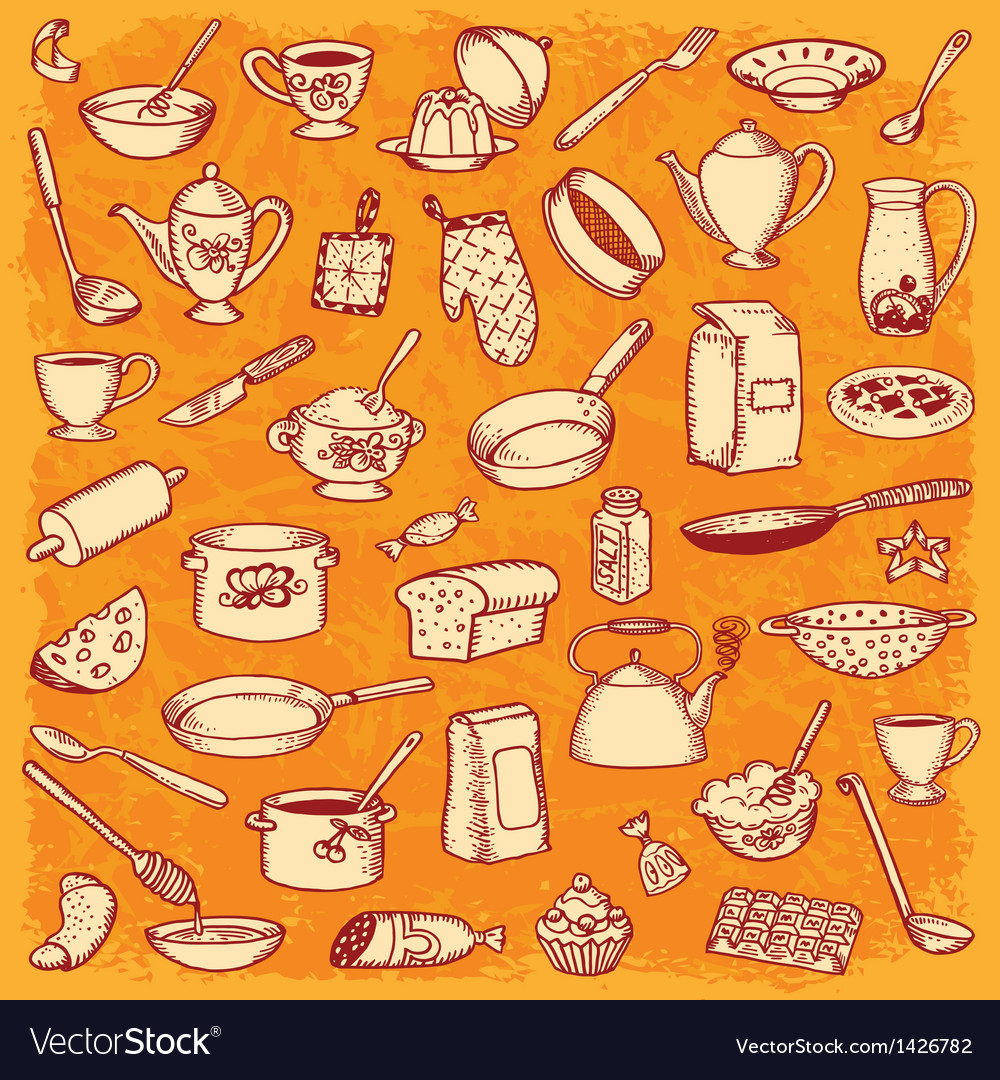 Kitchen and cooking doodle set vector