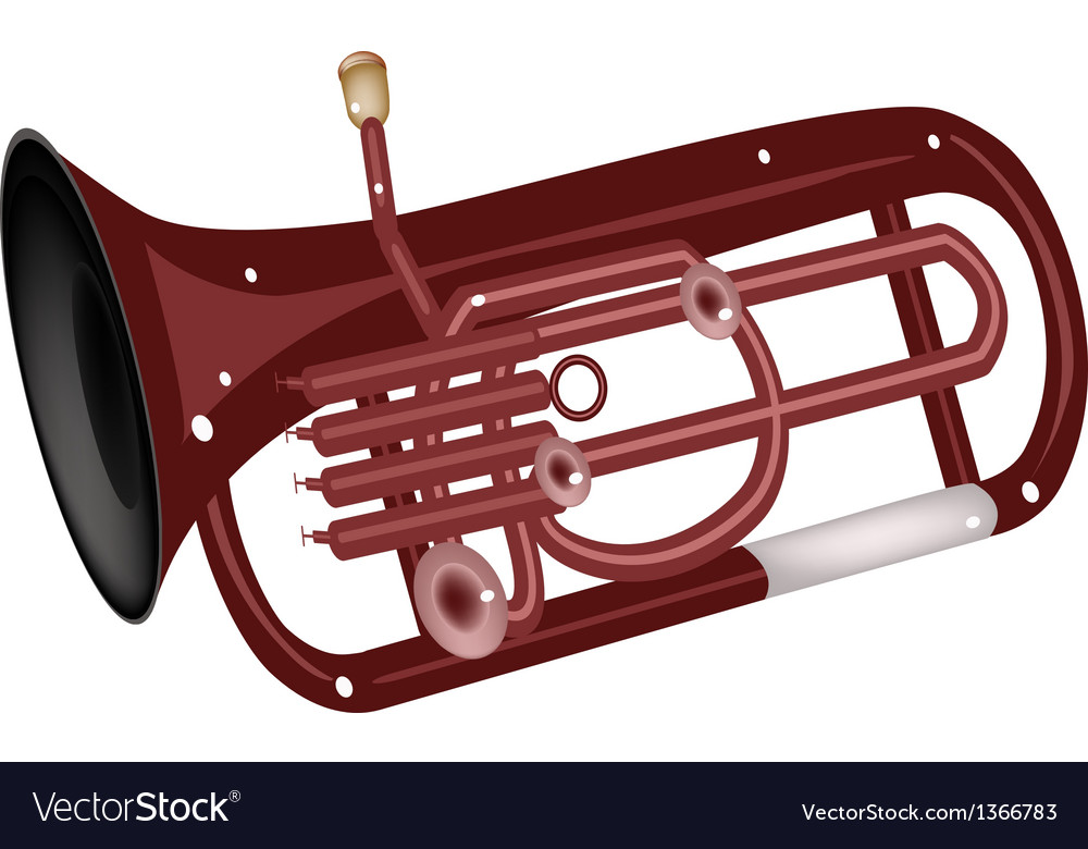 A musical euphonium isolated on white background vector
