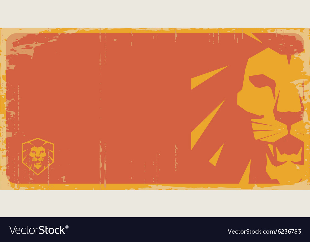 Lion vintage poster lion retro pattern lion temp vector