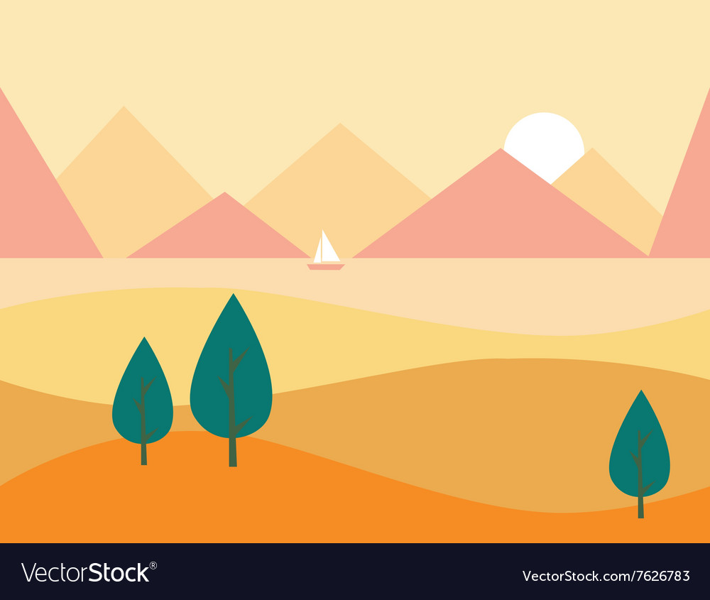 Seamless cartoon nature landscape with mountains vector