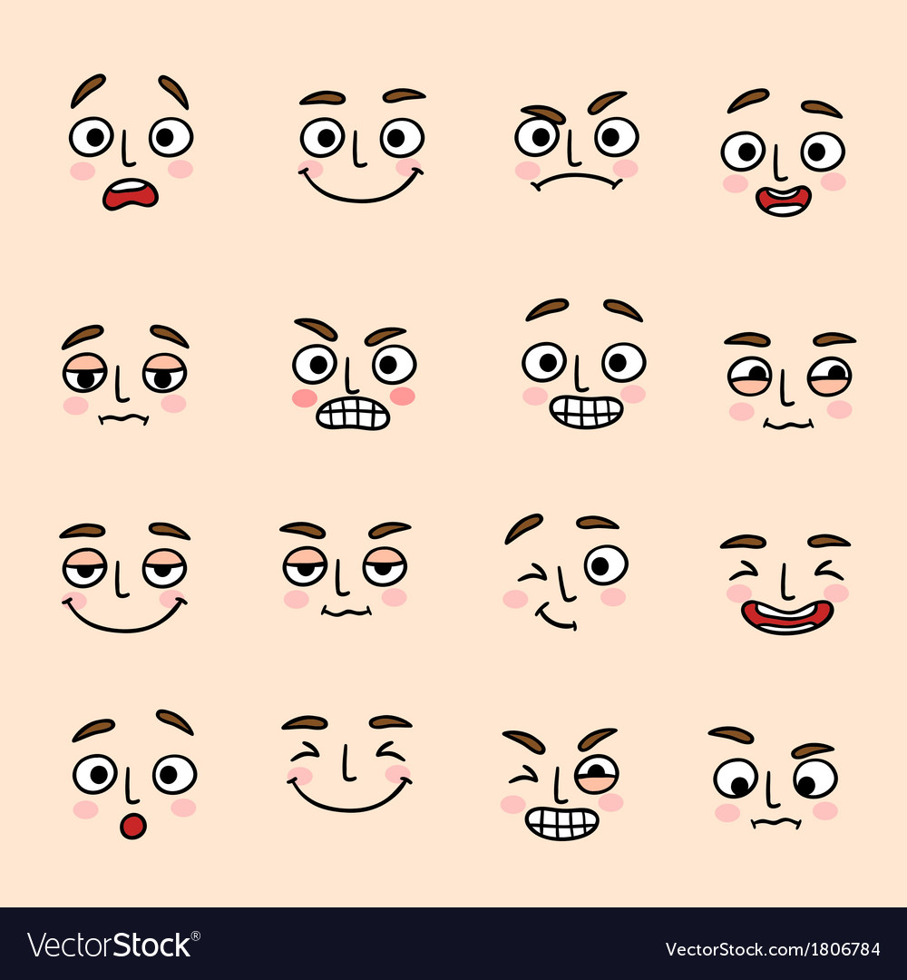 Facial mood expression icons set vector
