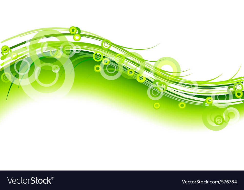 Green wave on the white background vector