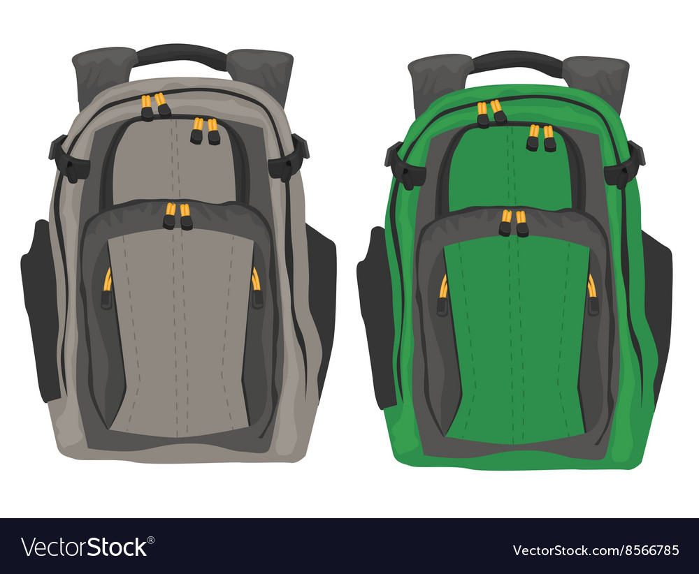Two modern backpacks standing on white background vector