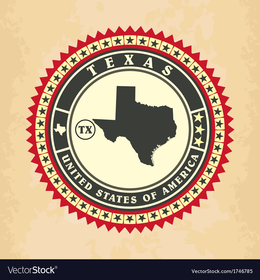 Vintage labelsticker cards of texas vector