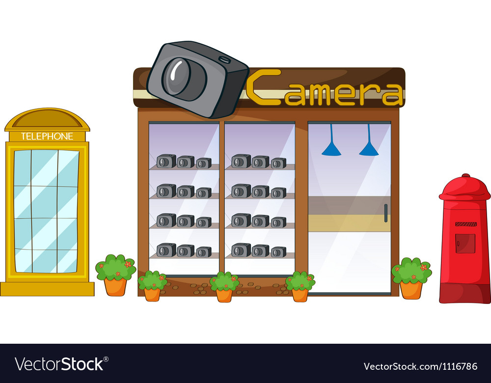A camera store mailbox and telephone vector