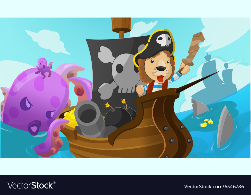 Lion pirate adventure fantasy cartoon vector