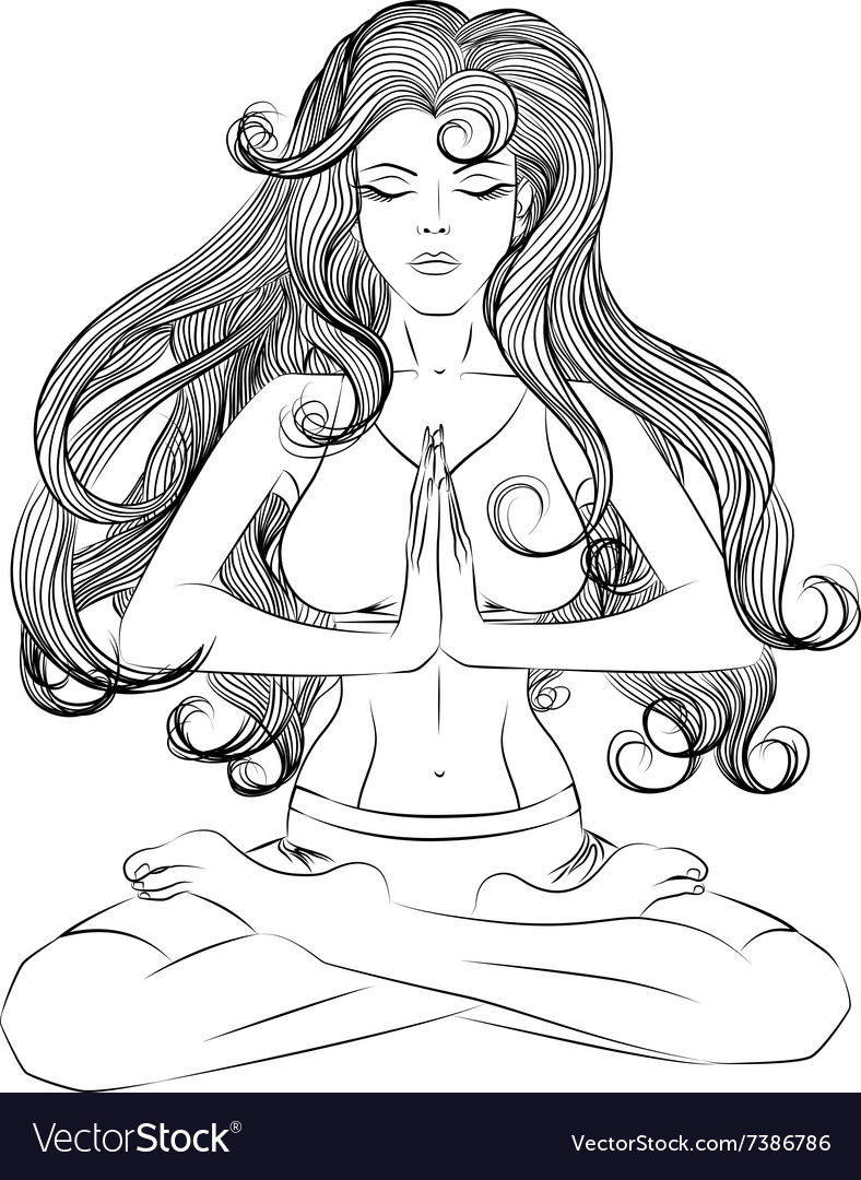 Yoga girl in lotus position outline vector