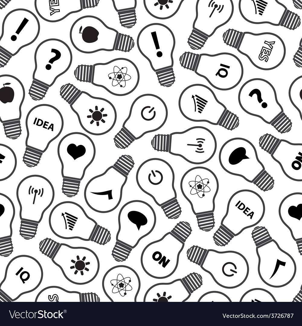 Light bulb symbols with various idea icons pattern vector
