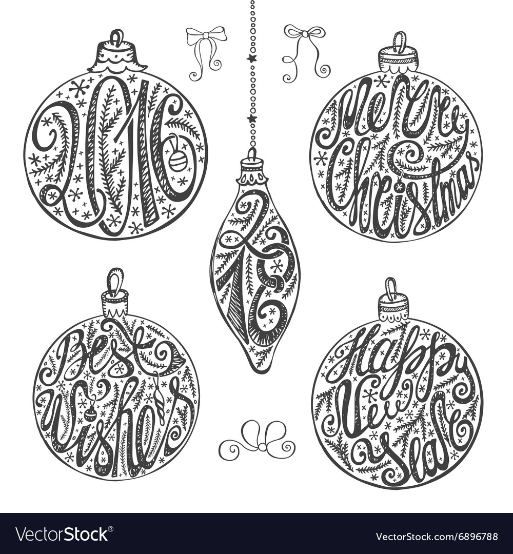 Christmas balls letteringcard elements setblack vector