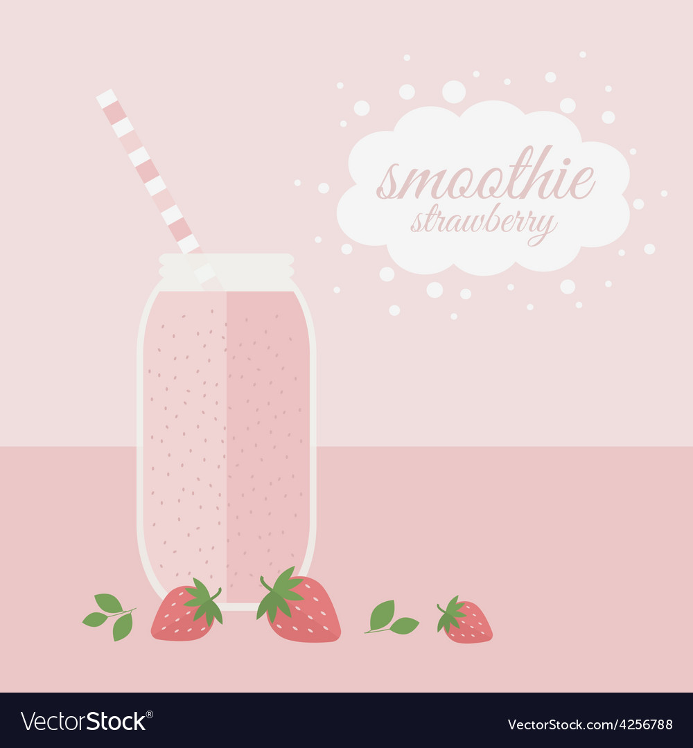 Strawberry smoothie in jar on a table vector