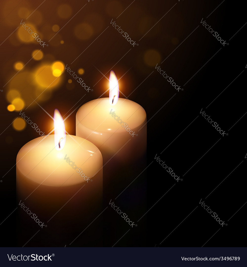 Candles on a dark background vector