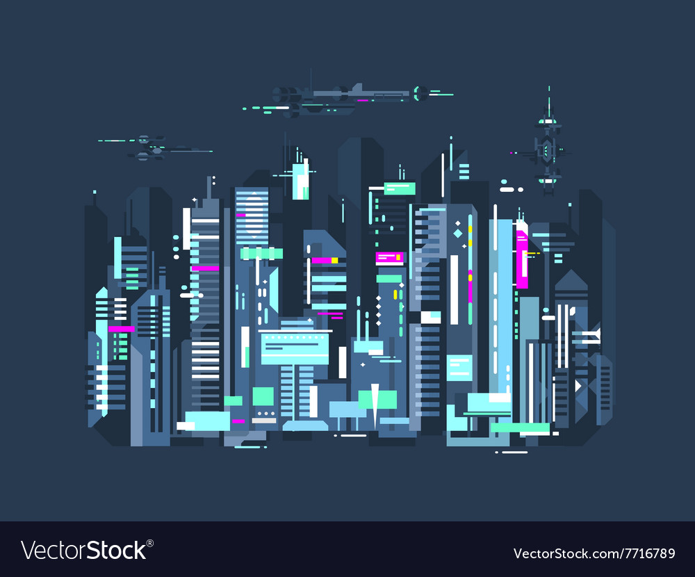 Modern city skyscrapers and airplanes vector