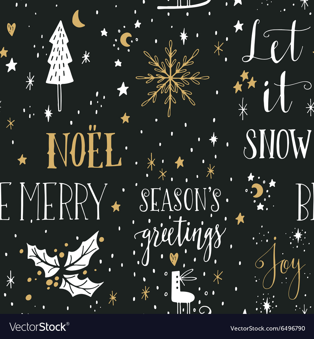 Hand drawn seamless pattern with christmas design vector