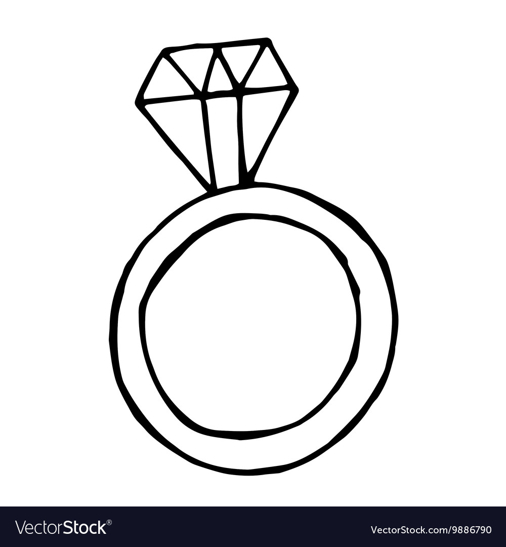 Ring with big diamond doodle object vector