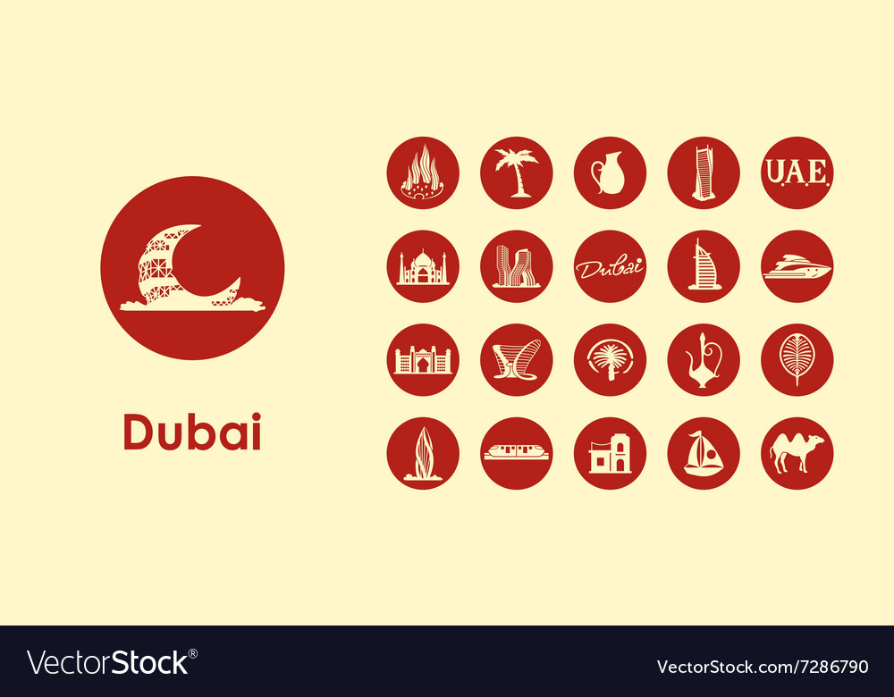 Set of dubai simple icons vector