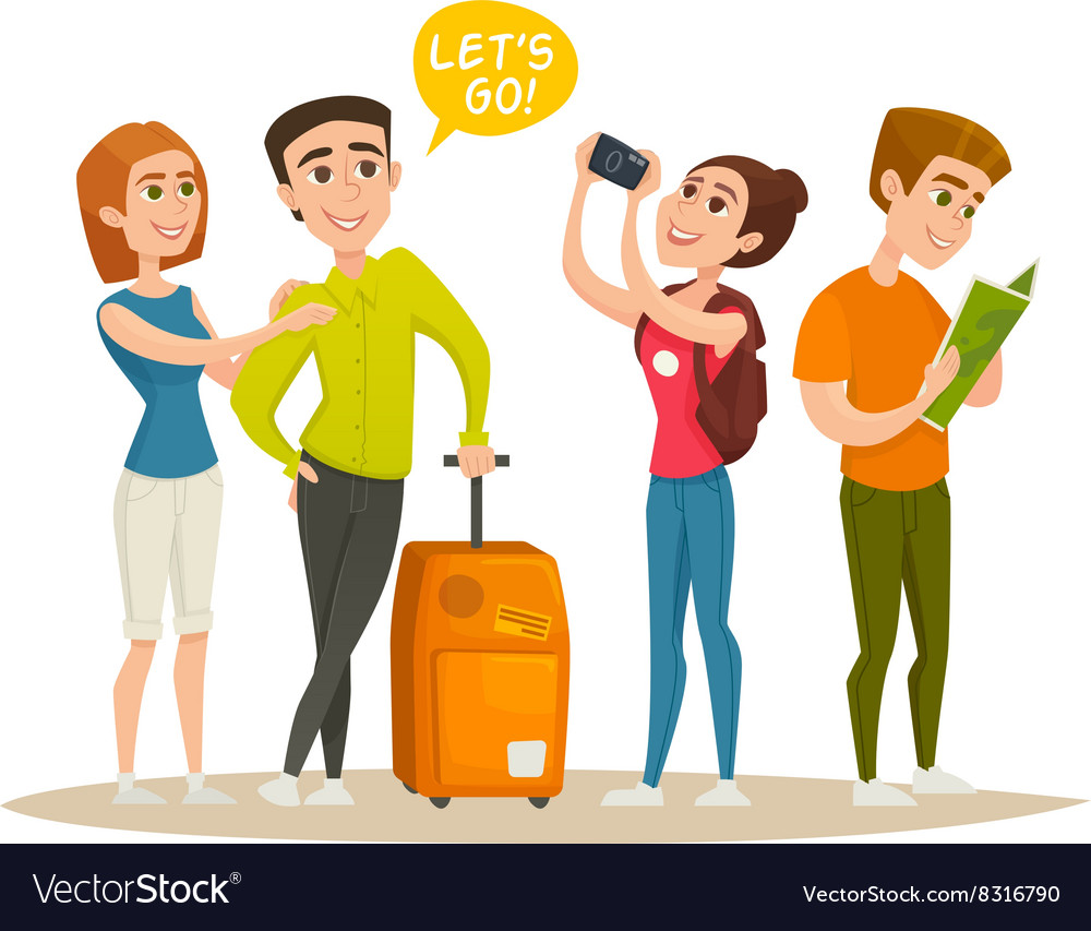 Tourists character design set young people vector