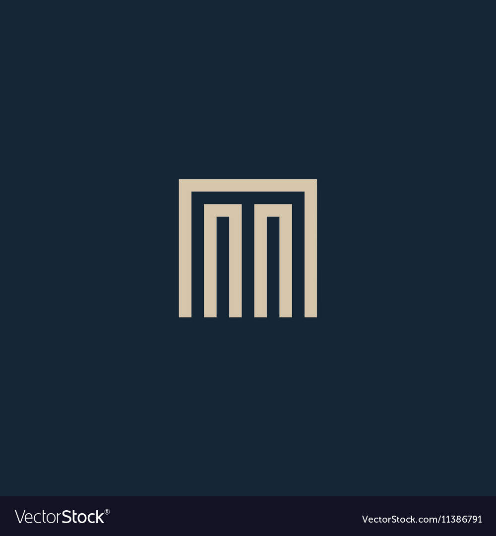 Unusual geometric letter m architecture vector