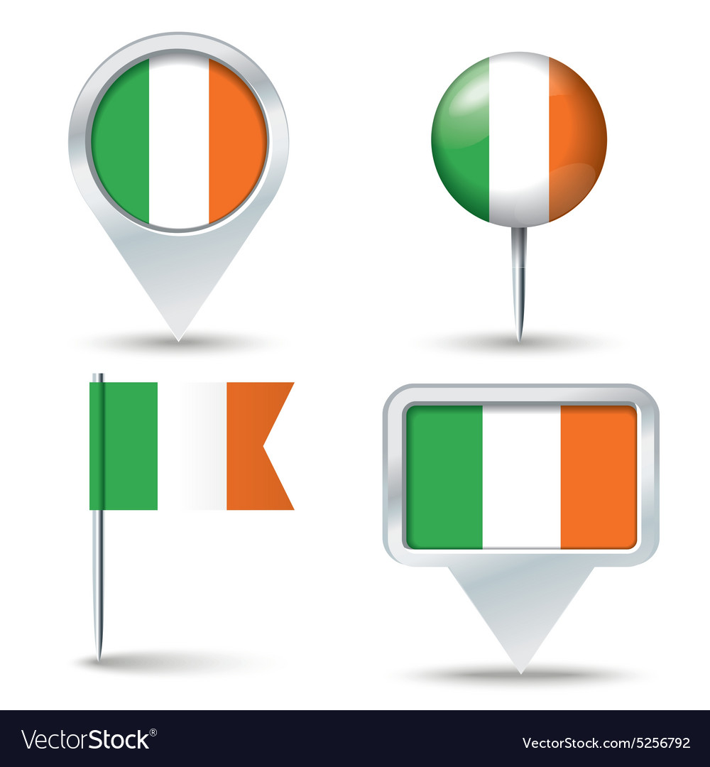 Map pins with flag of ireland vector