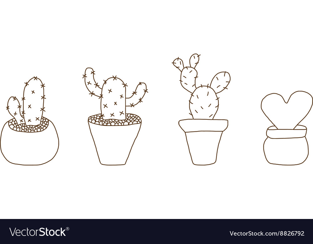 Mini cactus pot vector