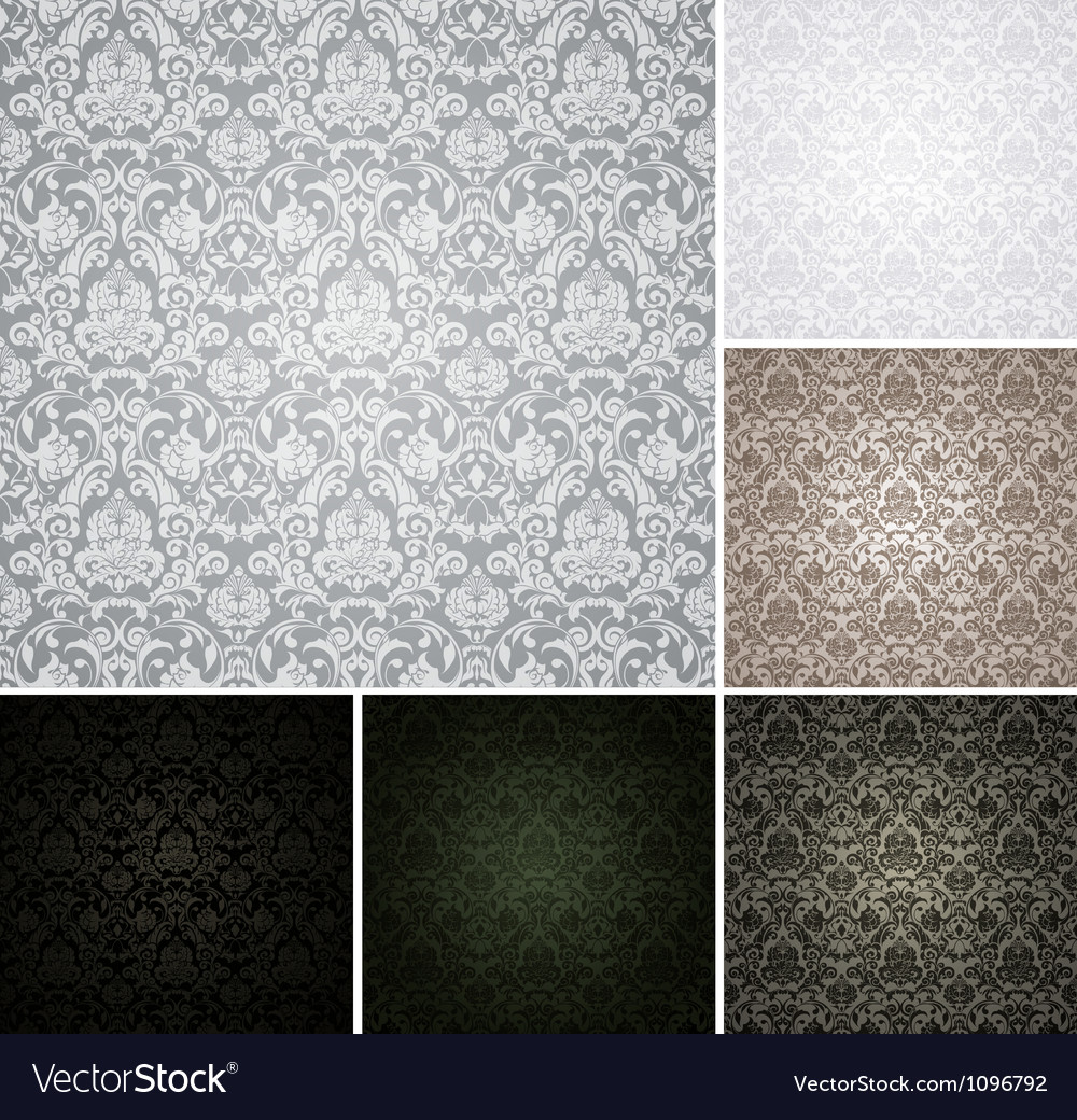 Seamless wallpaper pattern set of six colors vector