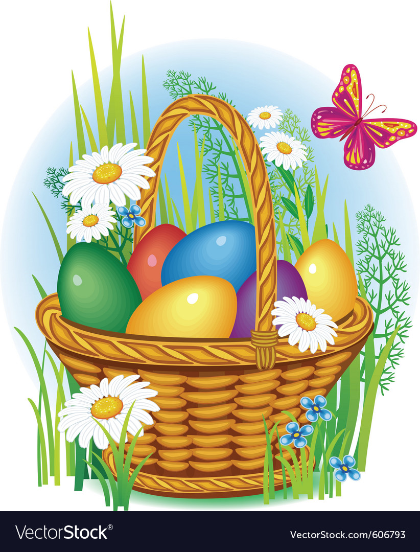 Easter eggs in wicker basket vector