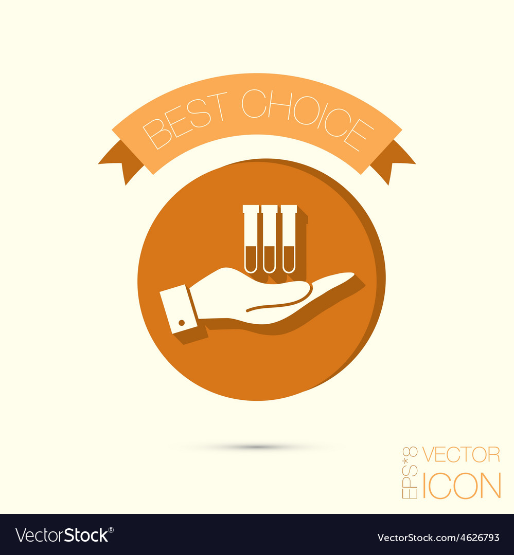 Hand holding a bulb or beaker symbol icon of vector