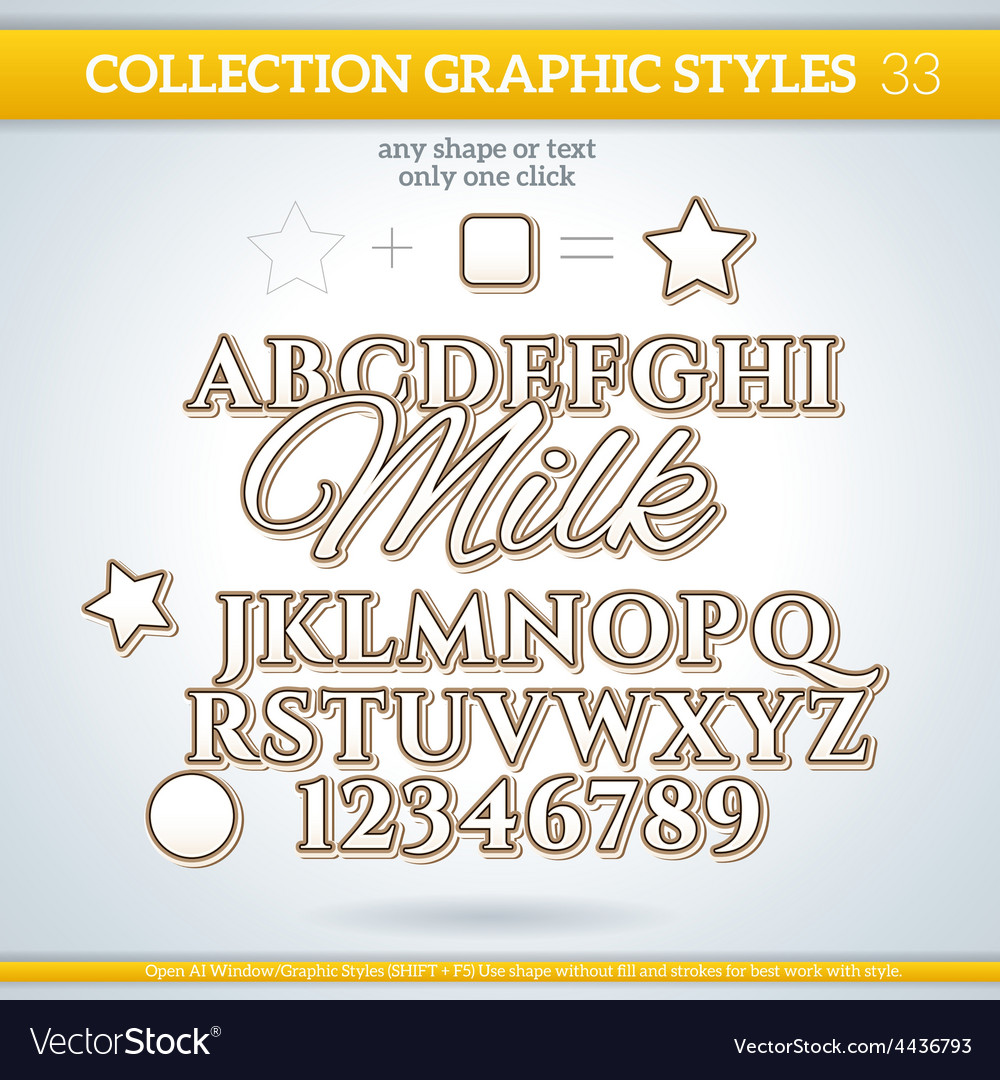 Milk graphic styles for design use for decor text vector