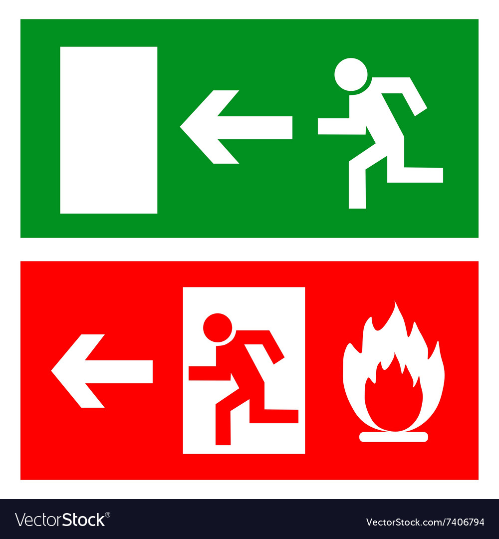 Emergency fire exit door and exit door sign with vector