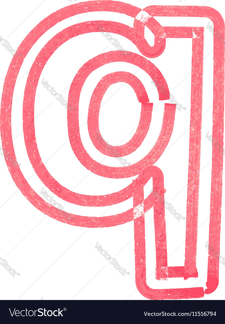 Lowercase letter q drawing with red marker vector