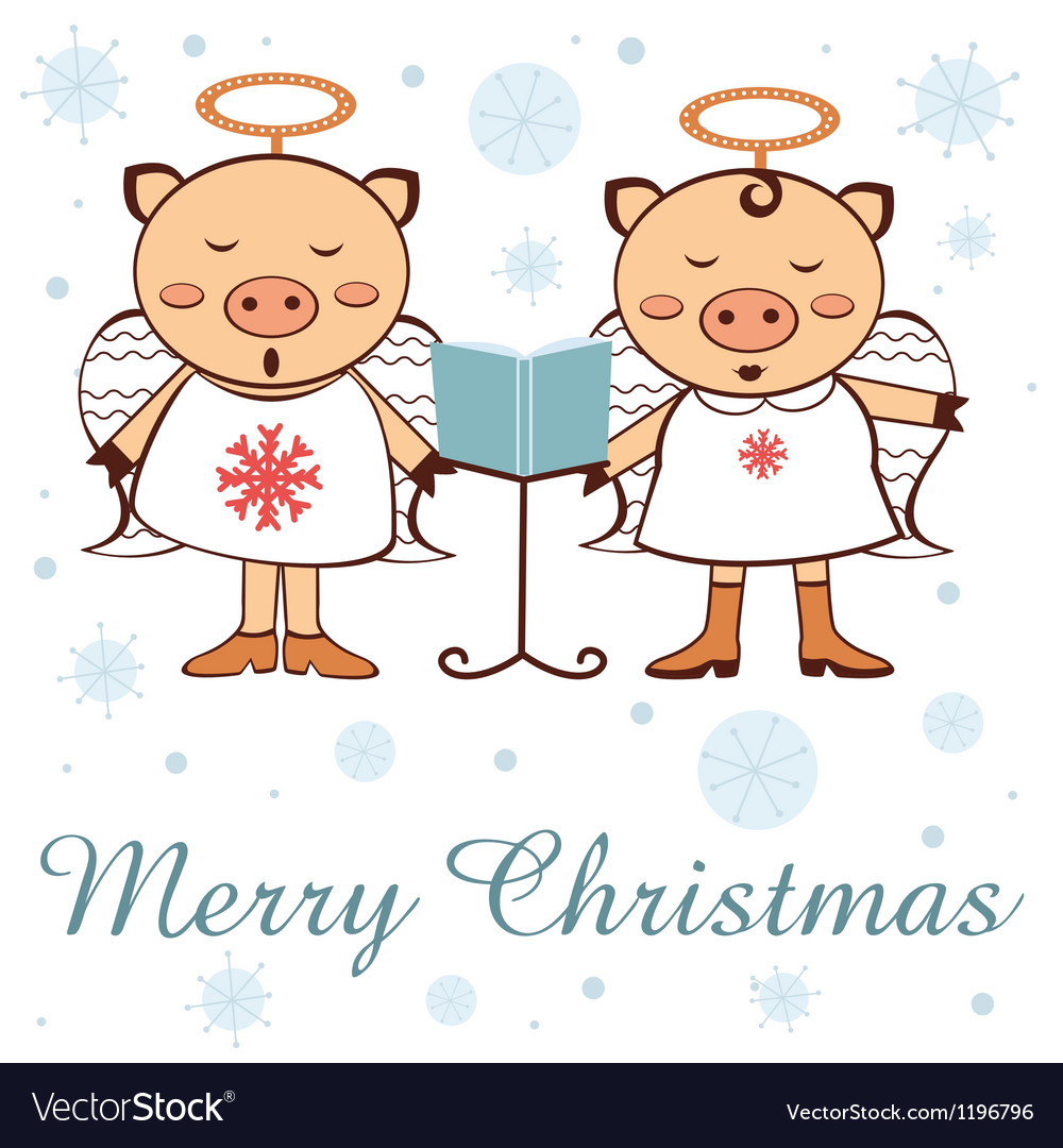 Christmas pigs vector