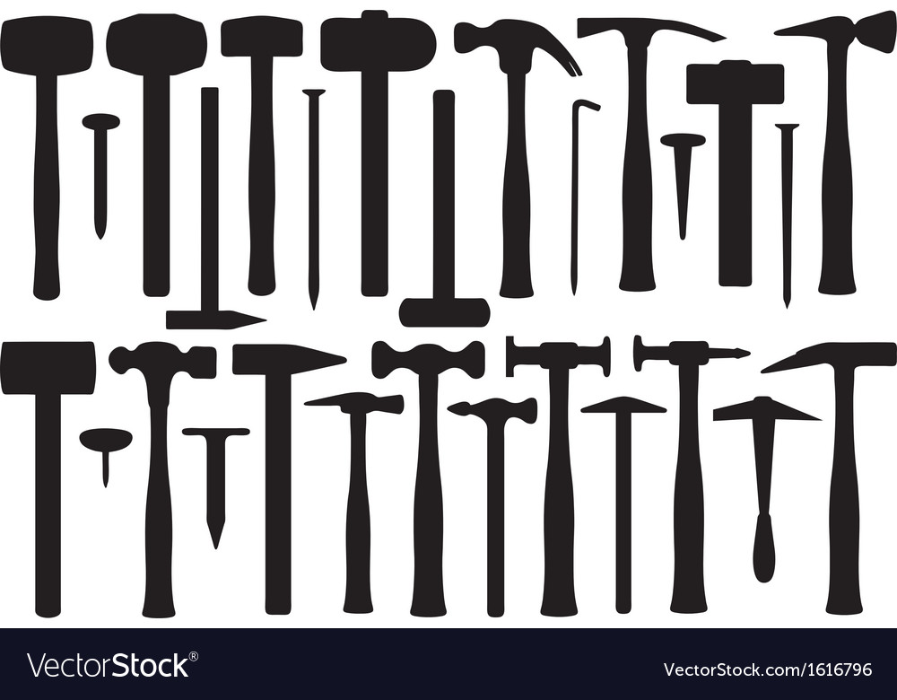 Set of different hammers vector