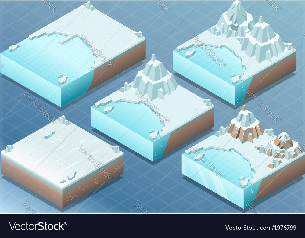 Isometric arctic terrain with iceberg and mount vector