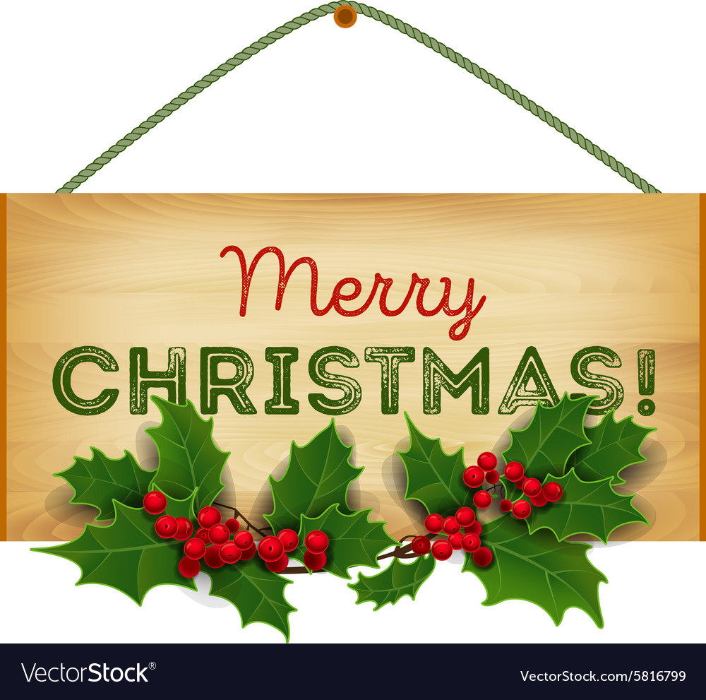Merry christmas christmas wooden vector