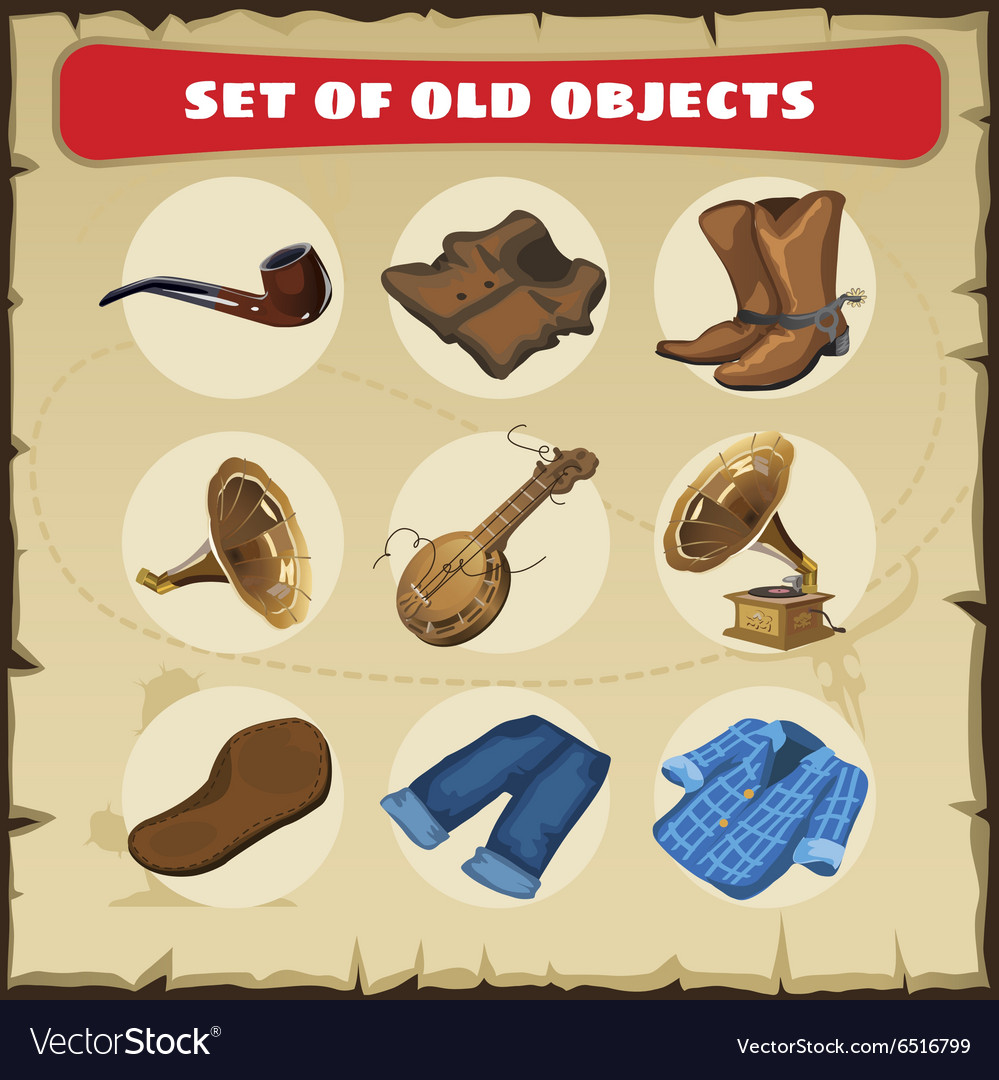 Set of old objects vest boots and other vector