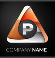 letter p logo symbol in the colorful triangle on vector image