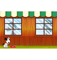 A puppy panting outside the house vector image