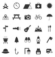 Camping icons on white background vector image